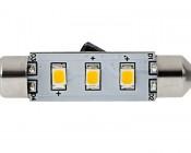 6451 LED Bulb - 3 SMD LED Festoon - 42mm: Front View