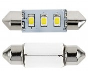 3710 LED Bulb - 3 x 2835 SMD LED Festoon: Front View With Size Comparison