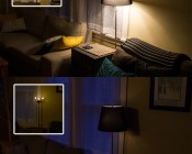 LED Filament Bulb - A19 LED Bulb with 8 Watt Filament LED - Dimmable: On In Dimmable Floor Lamp. Top Image Showing Bulbs At Full Brightness In Warm White. Bottom Image Showing Bulbs Dimmed In Warm White.
