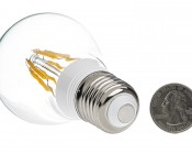 LED Filament Bulb - A19 LED Bulb with 6 Watt Filament LED, Warm White: Back View With Size Comparison