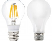 LED Filament Bulb - A19 LED Bulb with 6 Watt Filament LED, Warm White: Profile View with Size Comparison to Incandescent Bulb