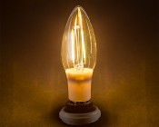 LED Filament Bulb - B10 LED Candelabra Bulb w/ Filament LED and Blunt Tip - 2W: Turned On