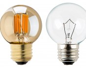 LED Vintage Light Bulb - G16 LED Bulb w/ Gold Tint - Filament LED - Dimmable: Profile View with Size Comparison to Incandescent Bulb