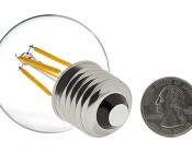 LED Filament Bulb - G16 LED Candelabra Bulb with 4 Watt Filament LED - Dimmable: Back View With Size Comparison