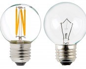 LED Filament Bulb - G16 LED Bulb with 4 Watt Filament LED - Dimmable: Profile View with Size Comparison to Incandescent Bulb