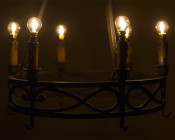 LED Filament Bulb - Gold Tint E14 LED Bulb with 1 Watt Filament LED - Dimmable: Shown Installed In Vintage Chandelier With E14 To E12 Adapters.
