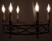 LED Filament Bulb - B10 LED Candelabra Bulb with 4 Watt Filament LED - Dimmable: Shown Installed In Vintage Chandelier.