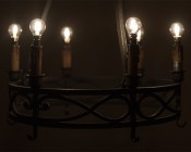 LED Filament Bulb - G14 LED Candelabra Bulb with 4 Watt Filament LED - Dimmable: Warm White Bulb Shown Installed In Vintage Chandelier.