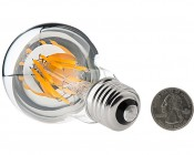 LED Filament Bulb - Silver Tipped A19 LED Bulb with 6 Watt Filament LED - Dimmable: Back View with Size Comparison