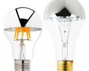 LED Filament Bulb - Silver Tipped A19 LED Bulb w/ Filament LED - Dimmable: Profile View With Size Comparison To Incandescent Bulb