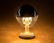 LED Filament Bulb - Silver Tipped A19 LED Bulb w/ Filament LED - 6W Dimmable: Turned On