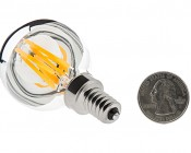 LED Filament Bulb - Silver Tipped G14 Candelabra LED Bulb w/ Filament LED - Dimmable: Back View