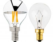 LED Filament Bulb - Silver Tipped G14 Candelabra LED Bulb w/ Filament LED - Dimmable: Profile View with Size Comparison to Incandescent Bulb