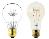 LED Fireworks Bulb - A19 Vintage Fireworks LED Bulb - Dimmable: Profile View with Size Comparison to Incandescent Bulb