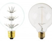 LED Fireworks Bulb - G30 Vintage Fireworks LED Bulb - Dimmable: Profile View with Size Comparison to Incandescent Bulb