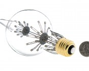 LED Fireworks Bulb - G80 Decorative Alien Light Bulb - 3W Dimmable: Back View with Size Comparison