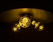 LED Fireworks Bulb - G80 Decorative Alien Light Bulb - 2W Dimmable: Shown Installed In Ceiling Hanging Fixture And Dimmed.