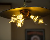 LED Fireworks Bulb - G80 Decorative Alien Light Bulb - 2W Dimmable: Shown Installed In Ceiling Hanging Fixture.