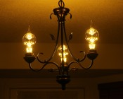 LED Fireworks Bulb - G80 Decorative Alien Light Bulb - 2W Dimmable: Shown Installed In Dining Room Ceiling Fixture.