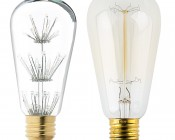 LED Fireworks Bulb - ST18 Shape - Edison Style Fireworks LED Bulb - Dimmable: Profile View with Size Comparison to Incandescent Bulb