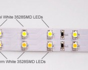 1 cool white and 1 warm white row of LEDs. Can be cut where indicated by orange circles