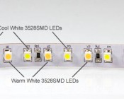 1 row of cool white and warm white LEDs. Can be cut where indicated by orange circles