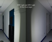 A beam comparison between the 30W (shown left) and 20W (shown right) flood lights