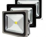 High Power 50W LED Flood Light Fixture: Available In Graphite, Black, & White Finsih