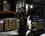 Square 12 Watt LED Mini Auxiliary Work Light: Attached To Both Sides Of Fork Lift