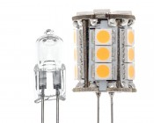 18HP-LED Tower G4 Lamp with incandescent bulb for comparison