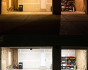 30W LED Shop Light/Garage Light - 2' Long: Shown Installed In Garage (Bottom) And Compared To Incandescent (Top).
