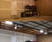 30W LED Shop Light/Garage Light - 2' Long: Shown Installed In Garage (Bottom) Compared To Incandescent (Top)