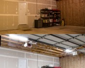 50W LED Shop Light/Garage Light - 4' Long: Shown Installed In Garage (Bottom) Compared To Incandescent (Top).
