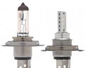 H4 LED Bulb - 12 LED Daytime Running Light  with Incandescent for Comparison