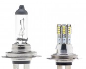 H7 LED Bulb - 36 High Power LED Daytime Running Light with Incandescent Bulb for comparison