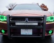 LED Halo Headlight Accent Lights: Shown Installed Around Fog Lights In Green.