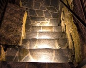 """LED Hardscape Lighting - 8""""  Deck / Step and Retaining Wall Lights w/ Mounting Plates: Showing 12' Version Installed In Custom Staircase In Warm White."""