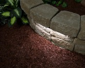 """LED Hardscape Lighting - Deck/Step and Retaining Wall Lights w/ Mounting Plates: Showing 12"""" Light In Natural White."""