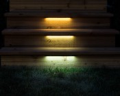 """LED Hardscape Lighting: 12"""" Installed On Cedar Deck Steps In Warm (Top) , Natural (Center), and Cool White (Bottom)."""