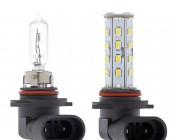 HB3 LED Bulb - 28 LED Daytime Running Light with Incandescent for Comparison