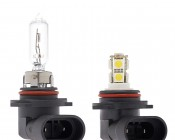 HB3 LED Bulb - 9 LED Daytime Running Light with Incandescent for Comparison