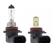 HB4 DRL LED bulb with Incandescent for Comparison