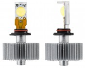 Motorcycle LED Headlight Kit - H10 LED Headlight Bulbs Conversion Kit with Radial Heat Sink: Front & Profile View
