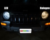 H4 LED Fanless Headlight Conversion Kit with Compact Heat Sink: Led Vs. Halogen Caparison View