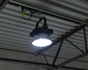 150 Watt High Power LED High Bay Light Fixture: Shown On Installed On Warehouse Ceiling.