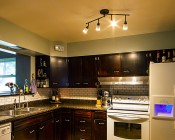 Dimmable GU10 Base LED Bulb: Installed in Light Fixture in Kitchen