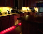 RGB Smart LED Strip Light Kit - 12V LED Tape Light w/ LC4 Connector - 244 Lumens/ft.: Installed Below Cabinets