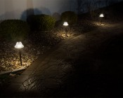 Landscape LED Path Lights w/ Frosted Glass Shade - 3 Watt - Adjustable Height: Installed on Landscape Path