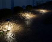 Landscape LED Path Lights w/ Mushroom Shade - 3 Watt - Adjustable Height: Installed on Landscape Path