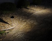 Landscape LED Path Lights w/ Offset Cone Shade - 3 Watt: Installed in Landscape Path